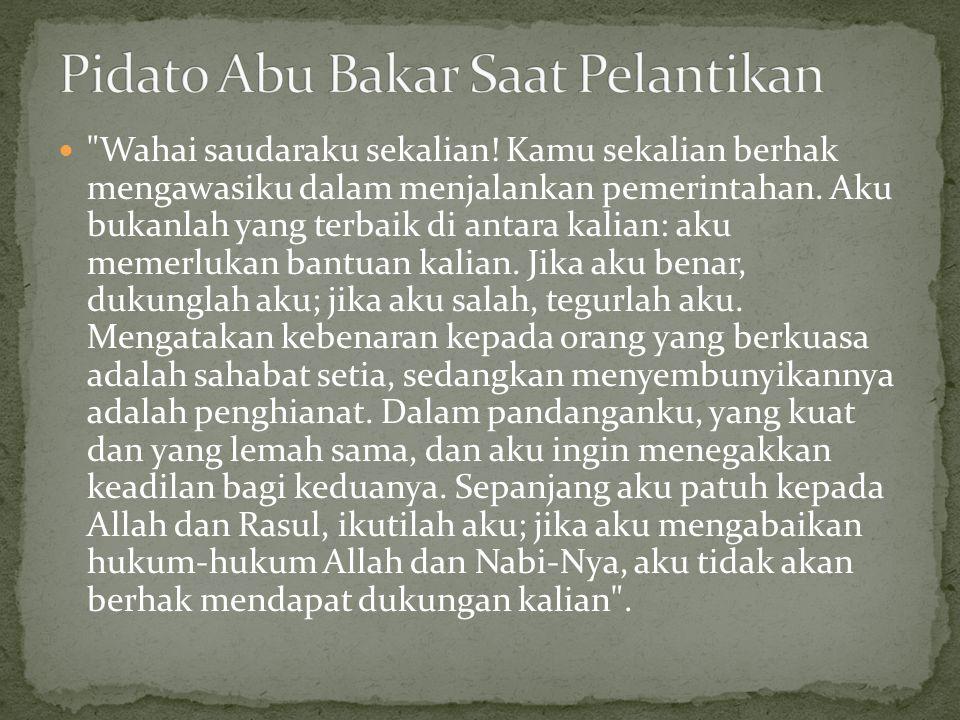 Pidato Abu Bakar Saat Pelantikan