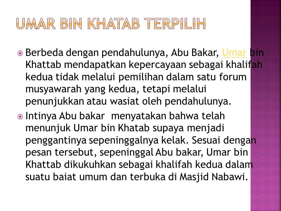 Umar Bin Khatab Terpilih