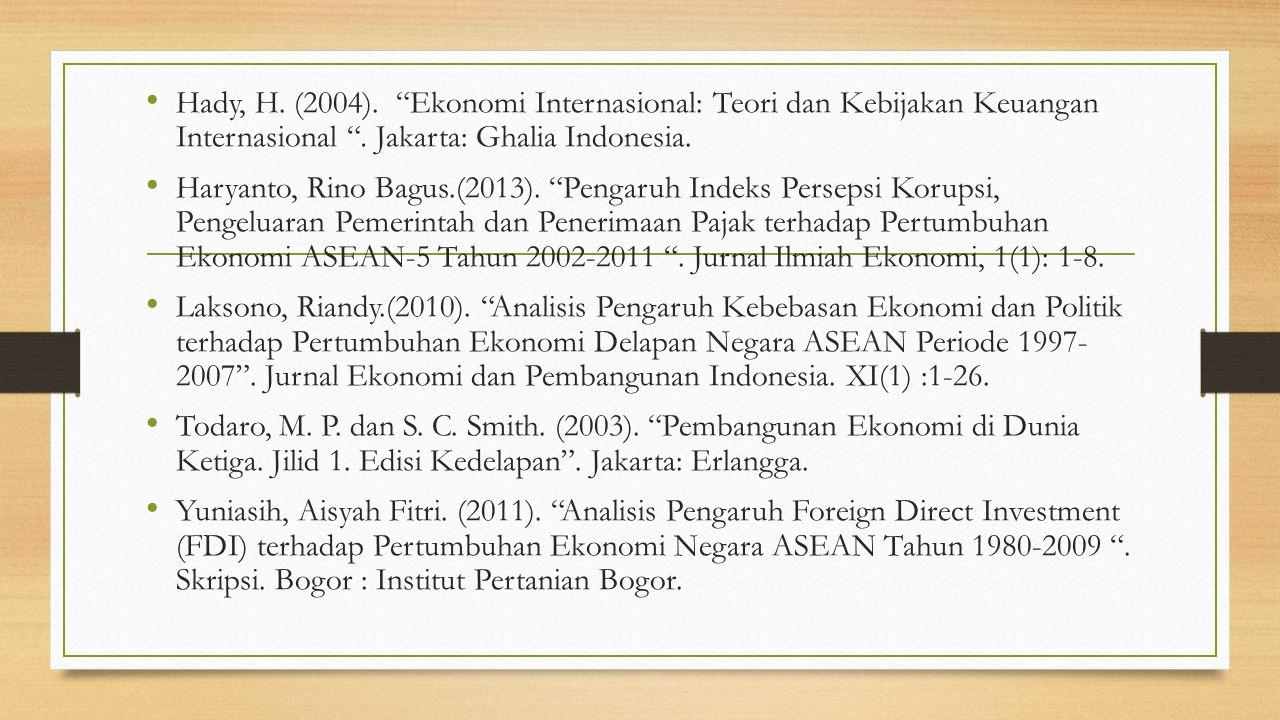 Hady, H. (2004). Ekonomi Internasional: Teori dan Kebijakan Keuangan Internasional . Jakarta: Ghalia Indonesia.