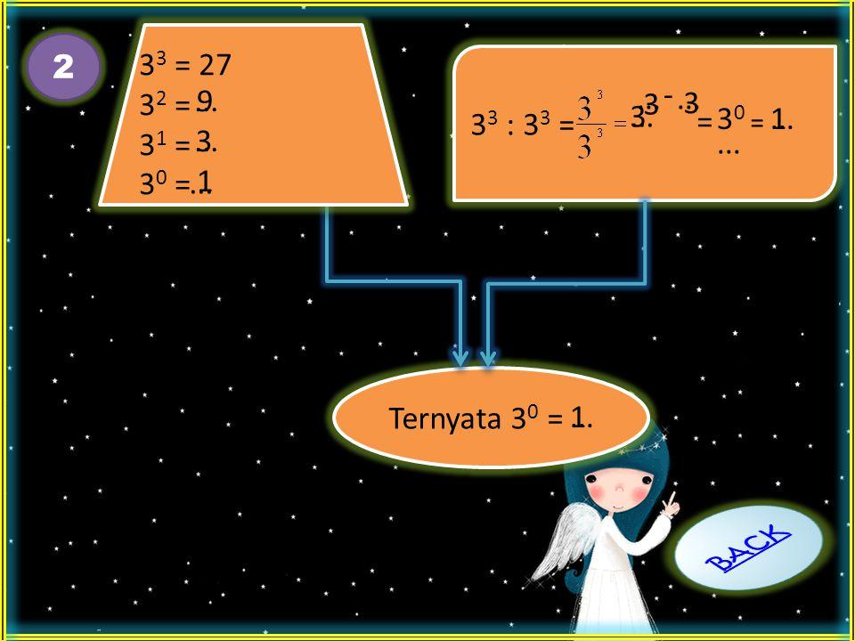 33 = 27 32 = 31 = 30 = 2. 33 : 33 = - ... 9. ... ... 3. 3. ... 3. = 30. ... 1. = ...