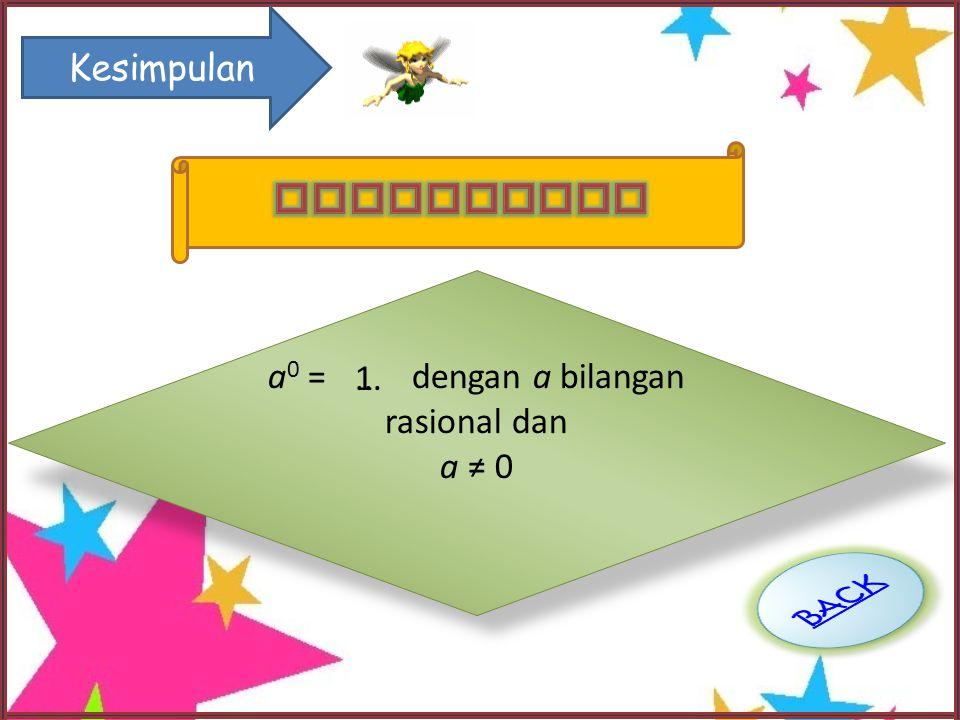 a0 = dengan a bilangan rasional dan