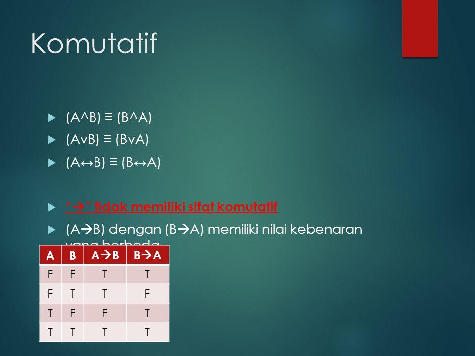 Komutatif (A^B) ≡ (B^A) (AvB) ≡ (BvA) (A↔B) ≡ (B↔A)