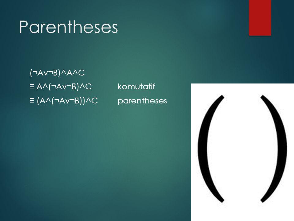 Parentheses (¬Av¬B)^A^C ≡ A^(¬Av¬B)^C komutatif ≡ (A^(¬Av¬B))^C parentheses