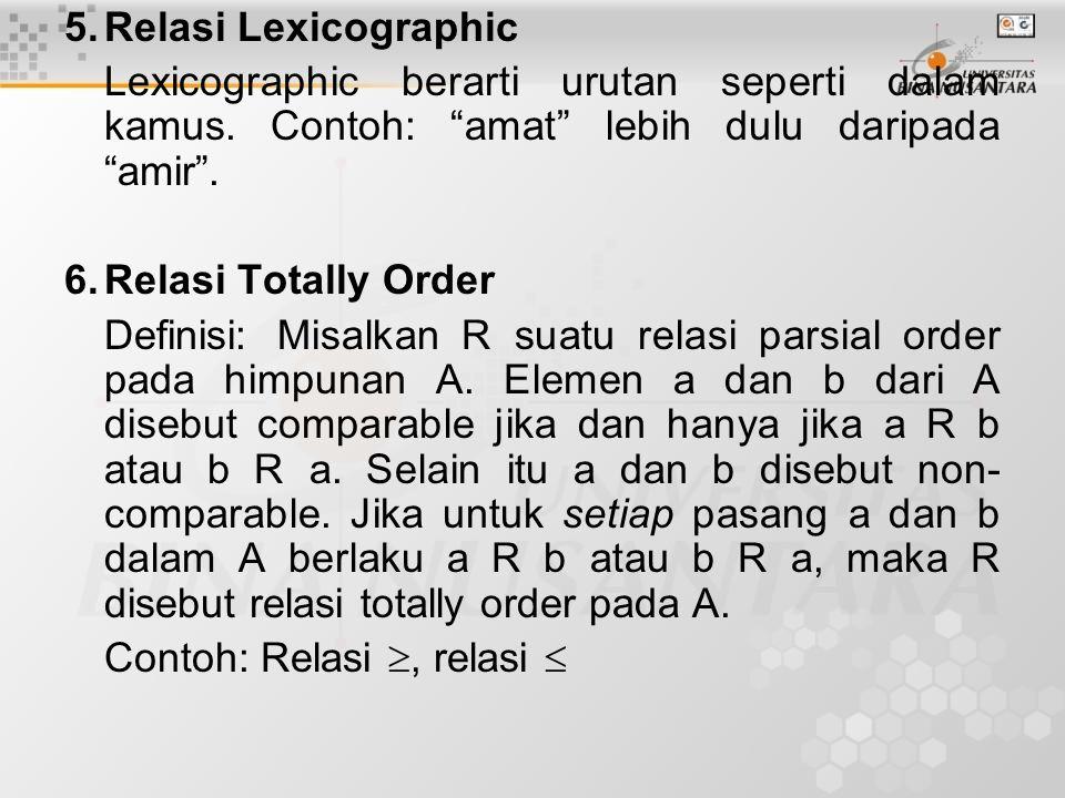 5. Relasi Lexicographic Lexicographic berarti urutan seperti dalam kamus. Contoh: amat lebih dulu daripada amir .