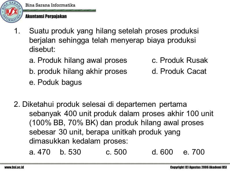 Suatu produk yang hilang setelah proses produksi berjalan sehingga telah menyerap biaya produksi disebut: