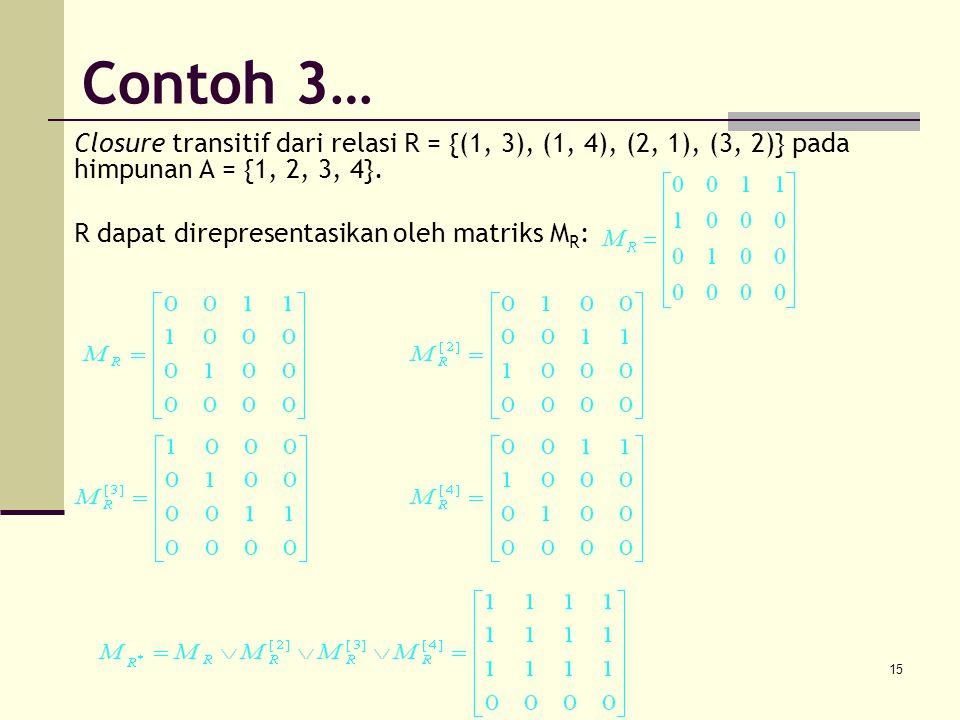 Contoh 3… Closure transitif dari relasi R = {(1, 3), (1, 4), (2, 1), (3, 2)} pada himpunan A = {1, 2, 3, 4}.