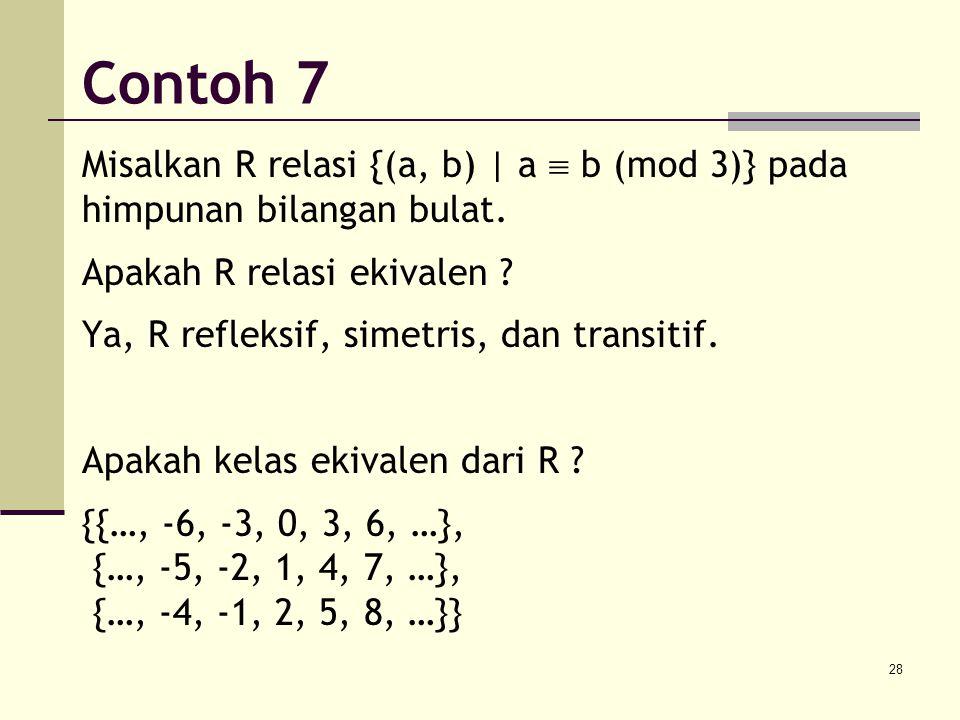Contoh 7 Misalkan R relasi {(a, b) | a  b (mod 3)} pada himpunan bilangan bulat. Apakah R relasi ekivalen