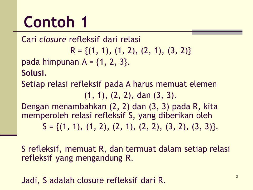 Contoh 1 Cari closure refleksif dari relasi