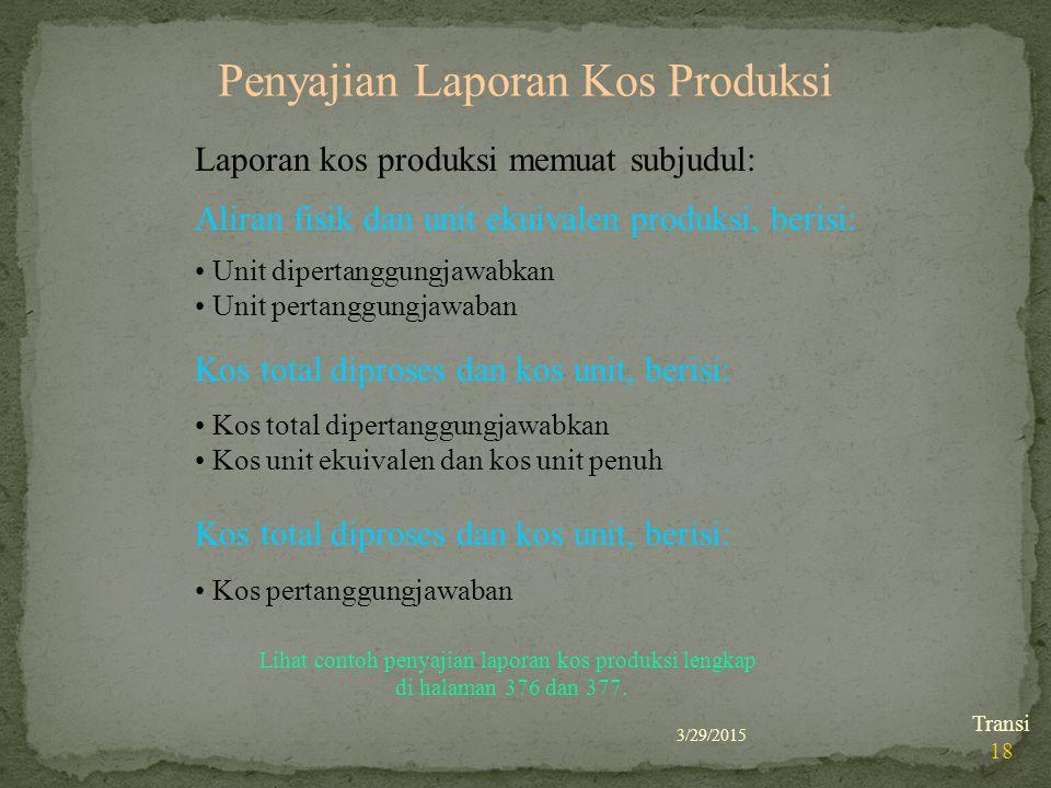 Penyajian Laporan Kos Produksi