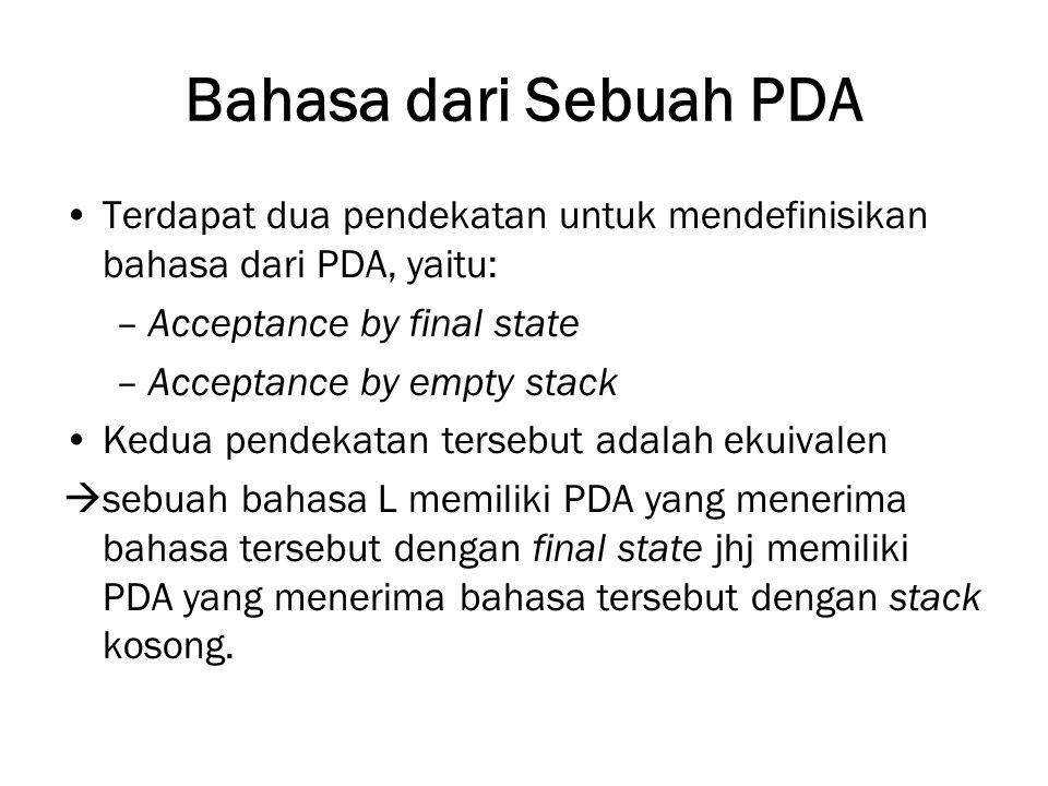 Bahasa dari Sebuah PDA Terdapat dua pendekatan untuk mendefinisikan bahasa dari PDA, yaitu: Acceptance by final state.