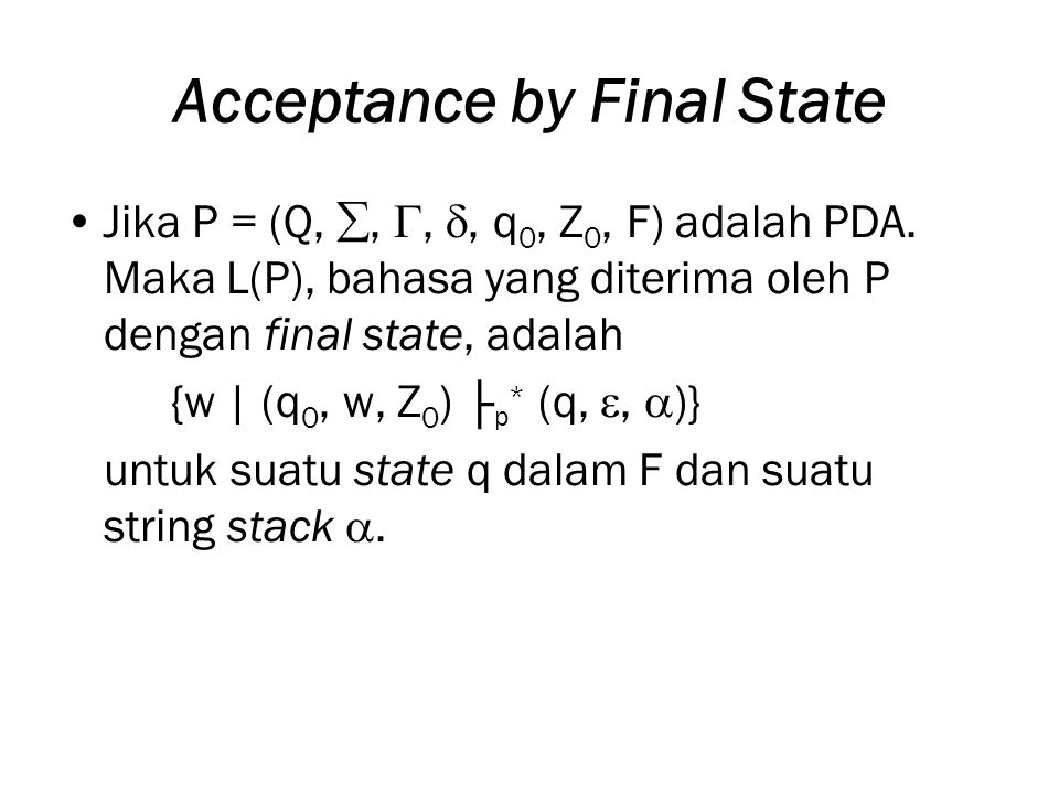 Acceptance by Final State