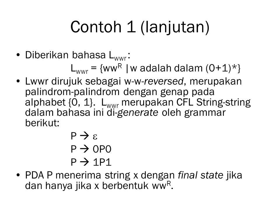 Contoh 1 (lanjutan) Diberikan bahasa Lwwr :