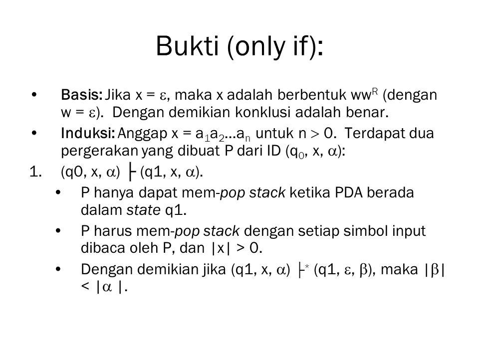 Bukti (only if): Basis: Jika x = , maka x adalah berbentuk wwR (dengan w = ). Dengan demikian konklusi adalah benar.