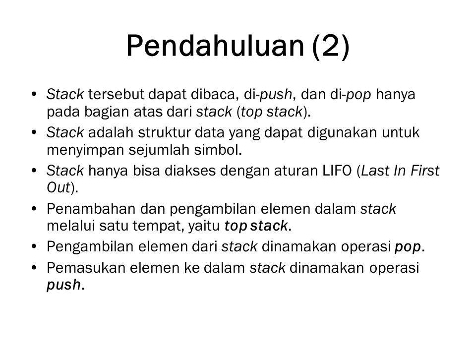 Pendahuluan (2) Stack tersebut dapat dibaca, di-push, dan di-pop hanya pada bagian atas dari stack (top stack).