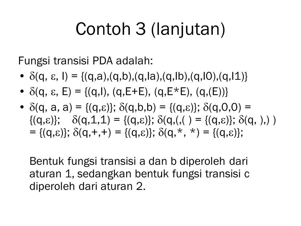 Contoh 3 (lanjutan) Fungsi transisi PDA adalah:
