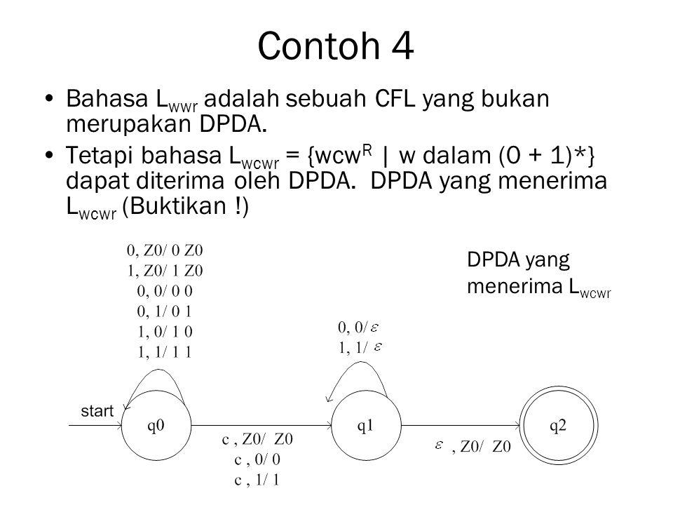 Contoh 4 Bahasa Lwwr adalah sebuah CFL yang bukan merupakan DPDA.