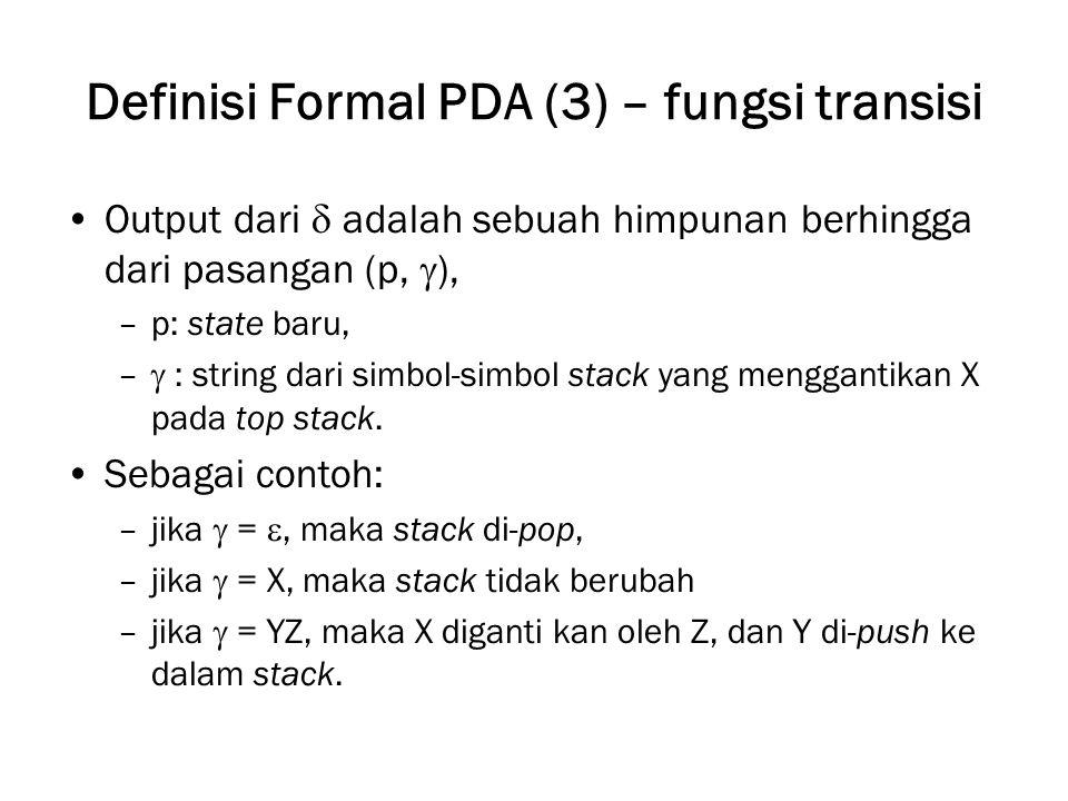 Definisi Formal PDA (3) – fungsi transisi
