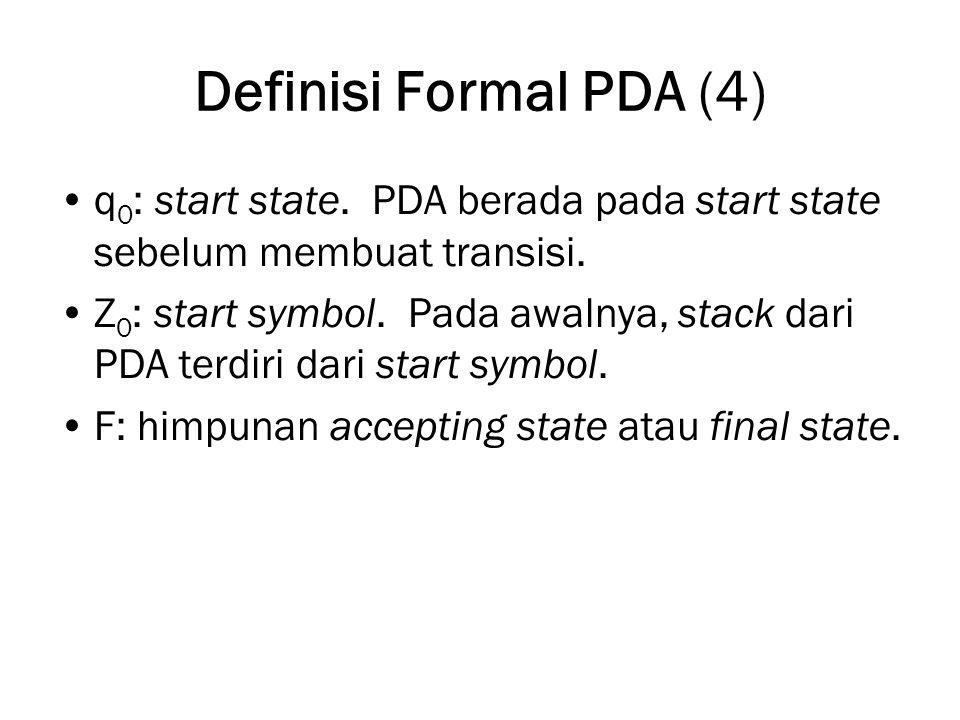 Definisi Formal PDA (4) q0: start state. PDA berada pada start state sebelum membuat transisi.