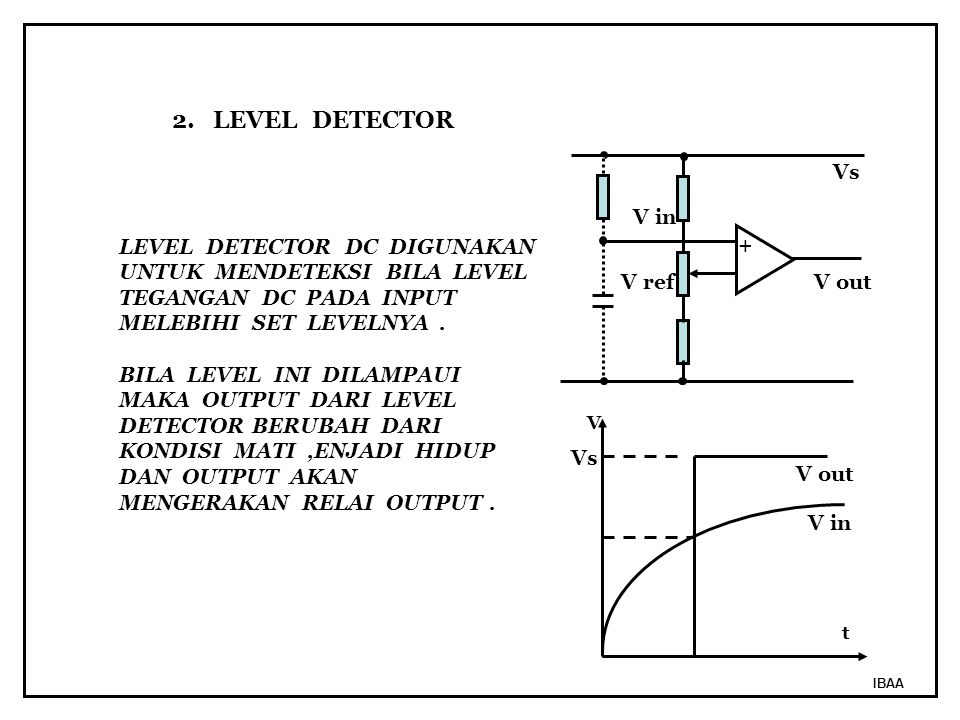2. LEVEL DETECTOR Vs V in LEVEL DETECTOR DC DIGUNAKAN