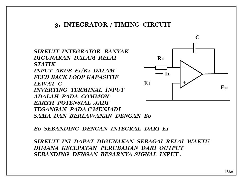 3. INTEGRATOR / TIMING CIRCUIT
