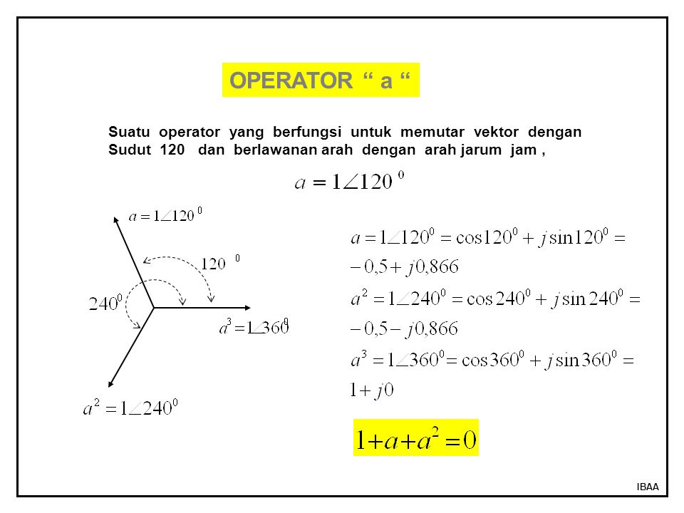 OPERATOR a Suatu operator yang berfungsi untuk memutar vektor dengan. Sudut 120 dan berlawanan arah dengan arah jarum jam ,