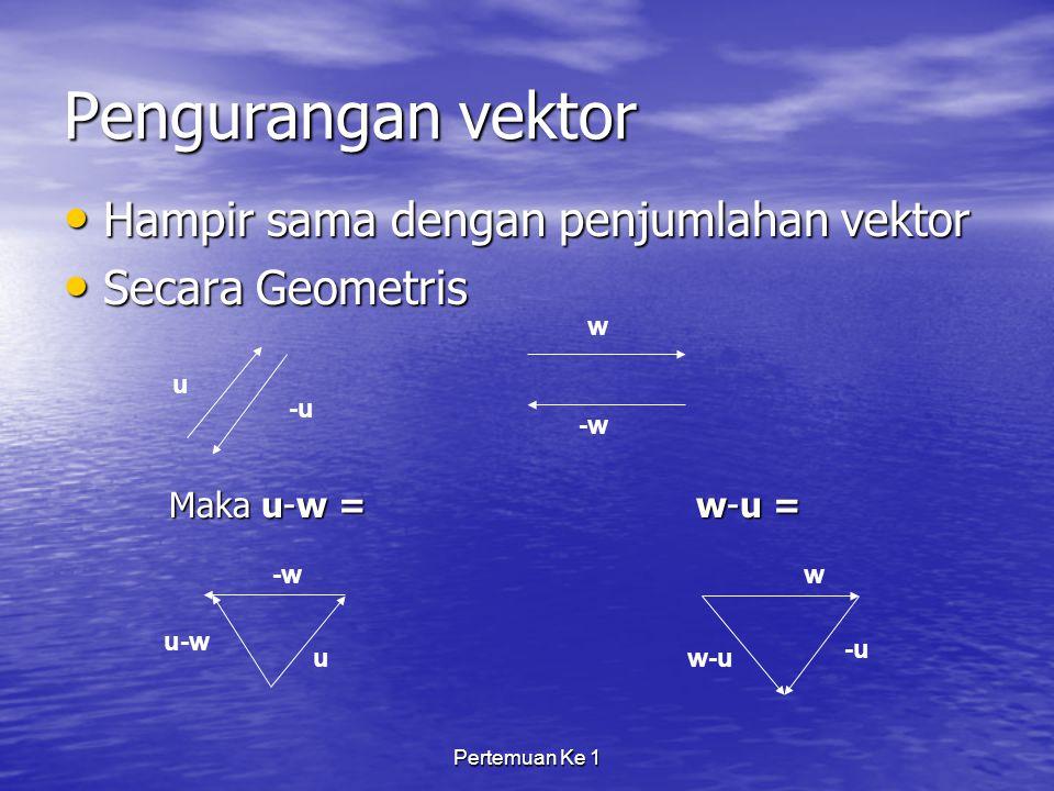 Pengurangan vektor Hampir sama dengan penjumlahan vektor