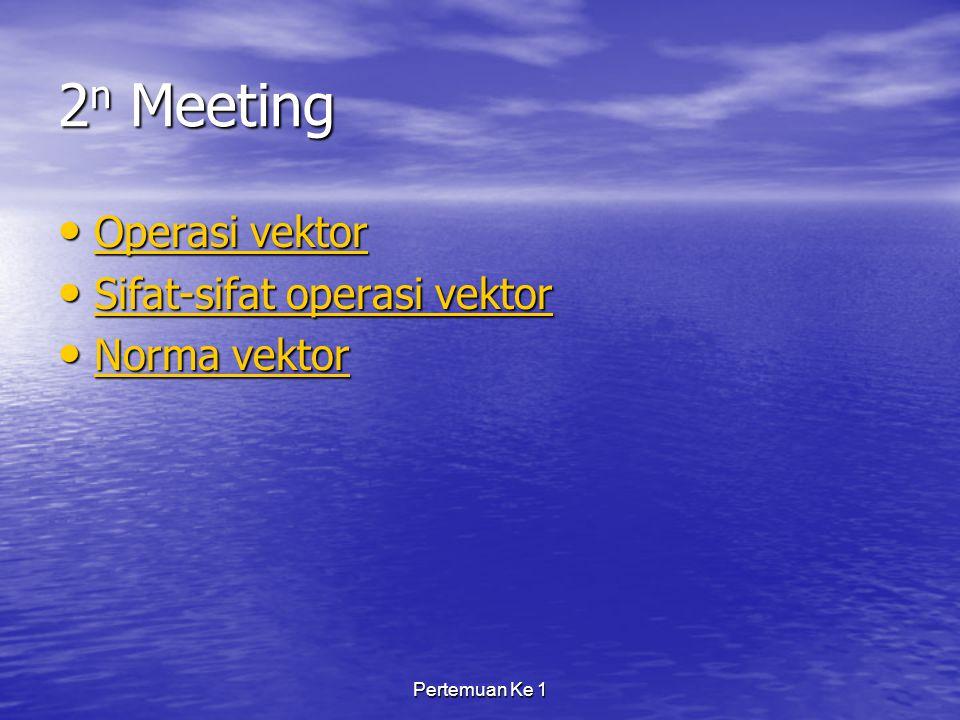 2n Meeting Operasi vektor Sifat-sifat operasi vektor Norma vektor