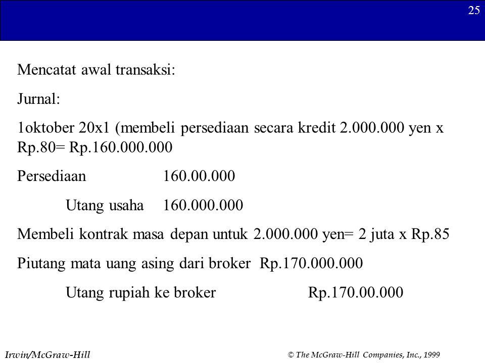 Mencatat awal transaksi: