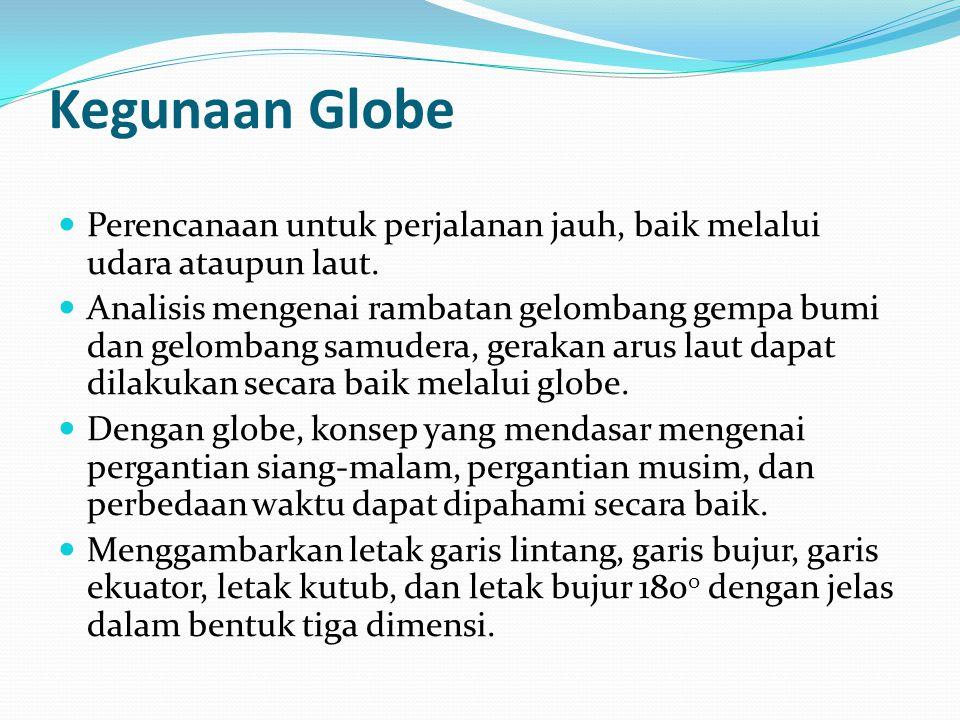 Kegunaan Globe Perencanaan untuk perjalanan jauh, baik melalui udara ataupun laut.