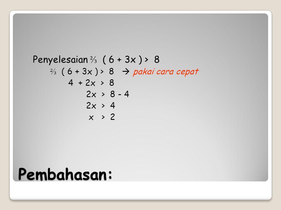 Pembahasan: Penyelesaian ⅔ ( 6 + 3x ) > 8