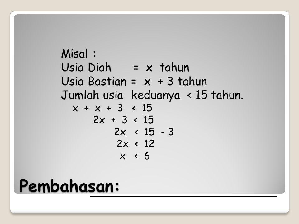 Pembahasan: Misal : Usia Diah = x tahun Usia Bastian = x + 3 tahun