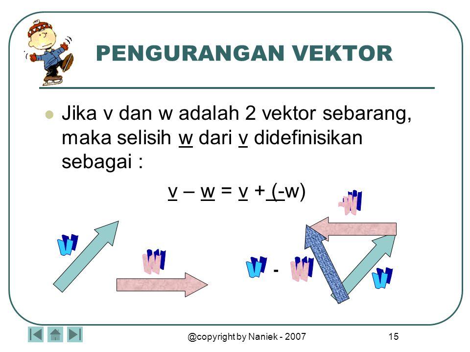 VEKTOR Tidak secara lengkap terdefinisi sampai besar dan arahnya ditentukan. Contoh : pergerakan angin  menunjukkan laju dan arah.