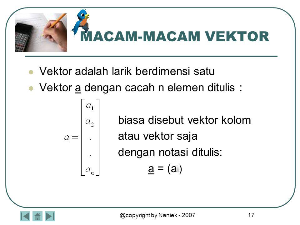 w v z VEKTOR EKUIVALEN Vektor-vektor yang panjang dan arahnya sama