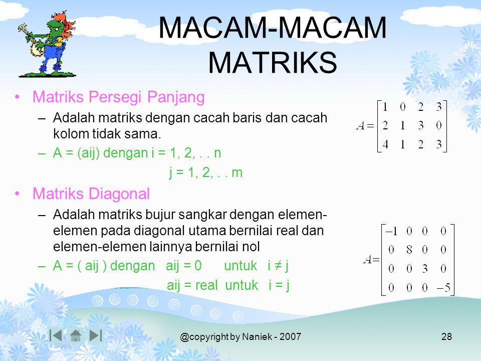 Kompetensi Macam-macam Matriks Operasi Matriks
