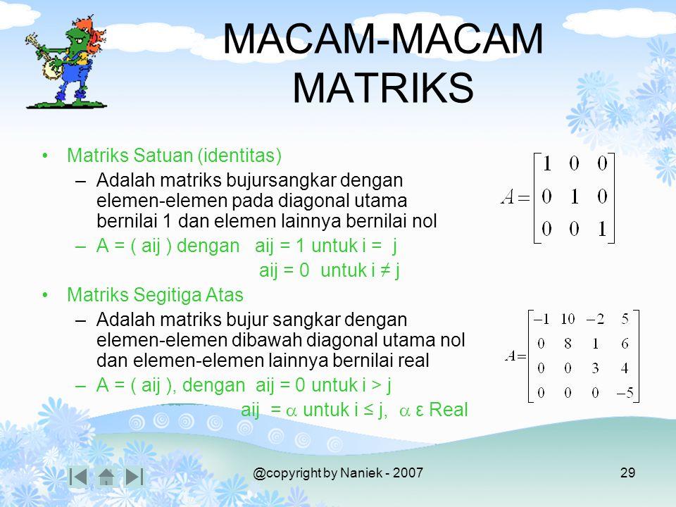 Kompetensi Mahasiswa mampu: Mendefinisikan matriks