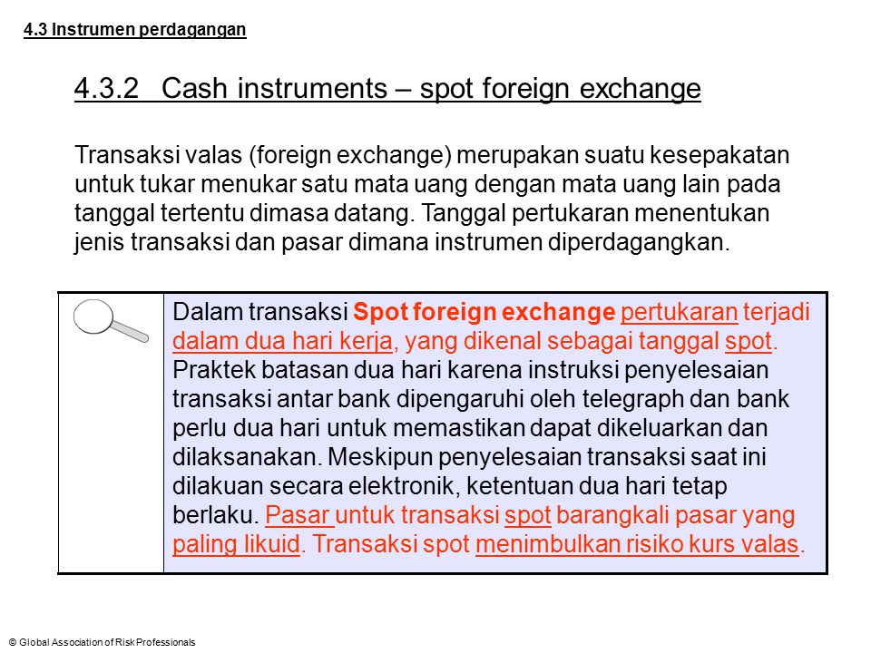 4.3.2 Cash instruments – spot foreign exchange