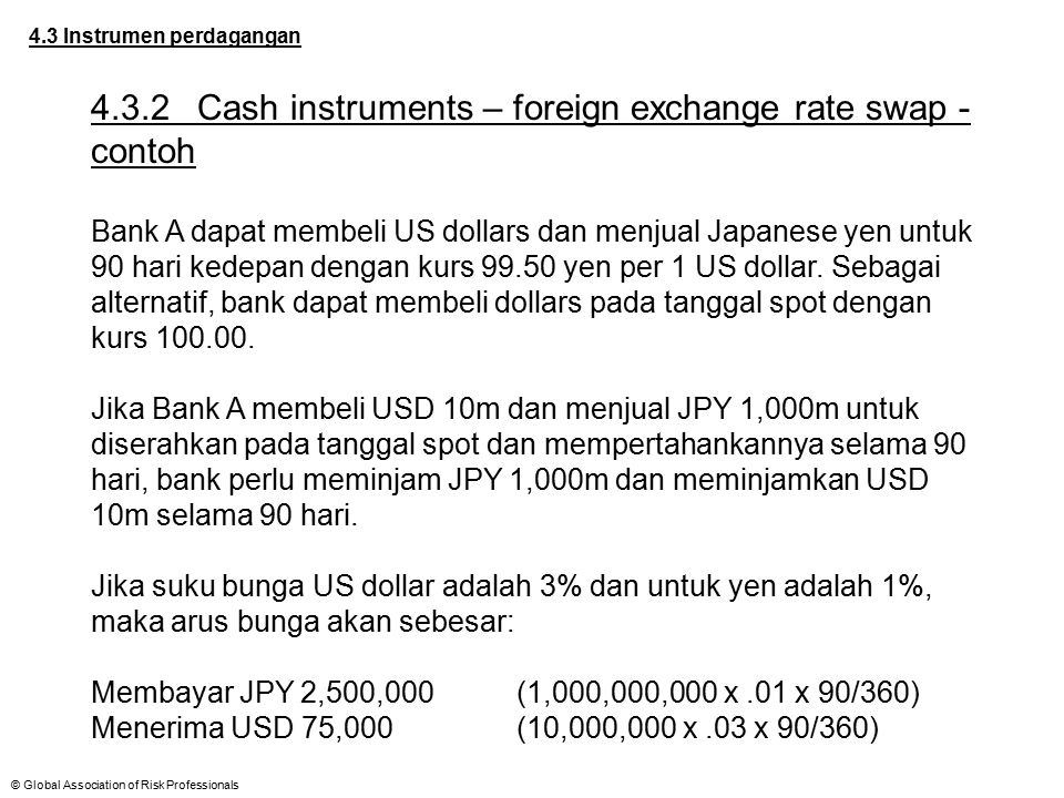 4.3.2 Cash instruments – foreign exchange rate swap - contoh