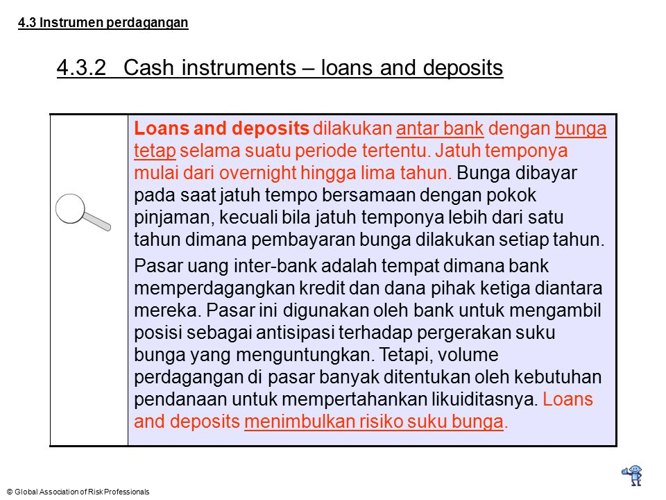 4.3.2 Cash instruments – loans and deposits