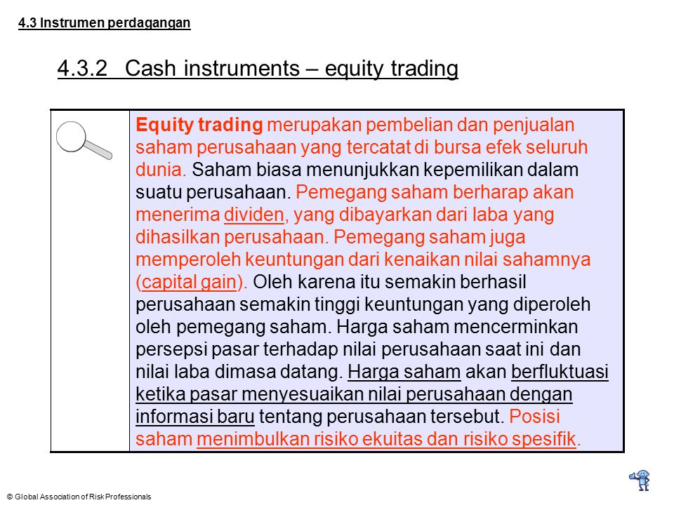 4.3.2 Cash instruments – equity trading