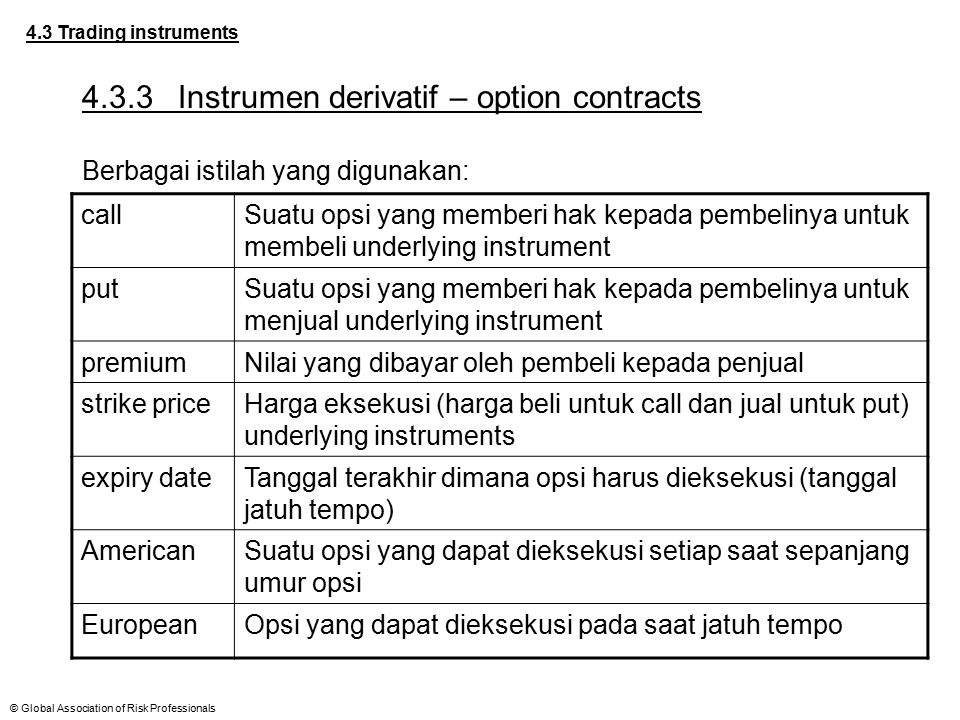 4.3.3 Instrumen derivatif – option contracts