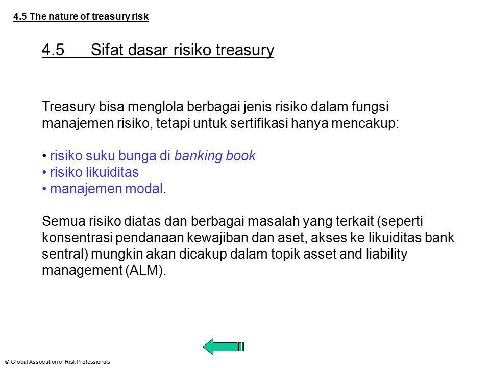 4.5 Sifat dasar risiko treasury