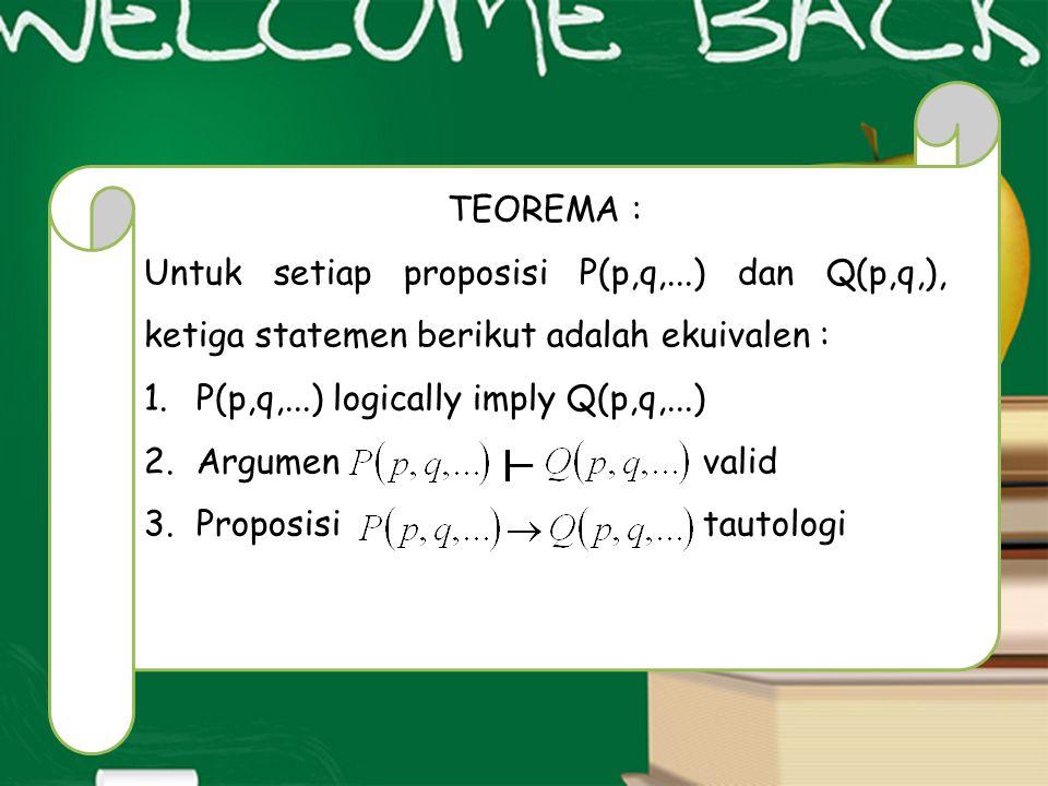 TEOREMA : Untuk setiap proposisi P(p,q,...) dan Q(p,q,), ketiga statemen berikut adalah ekuivalen :