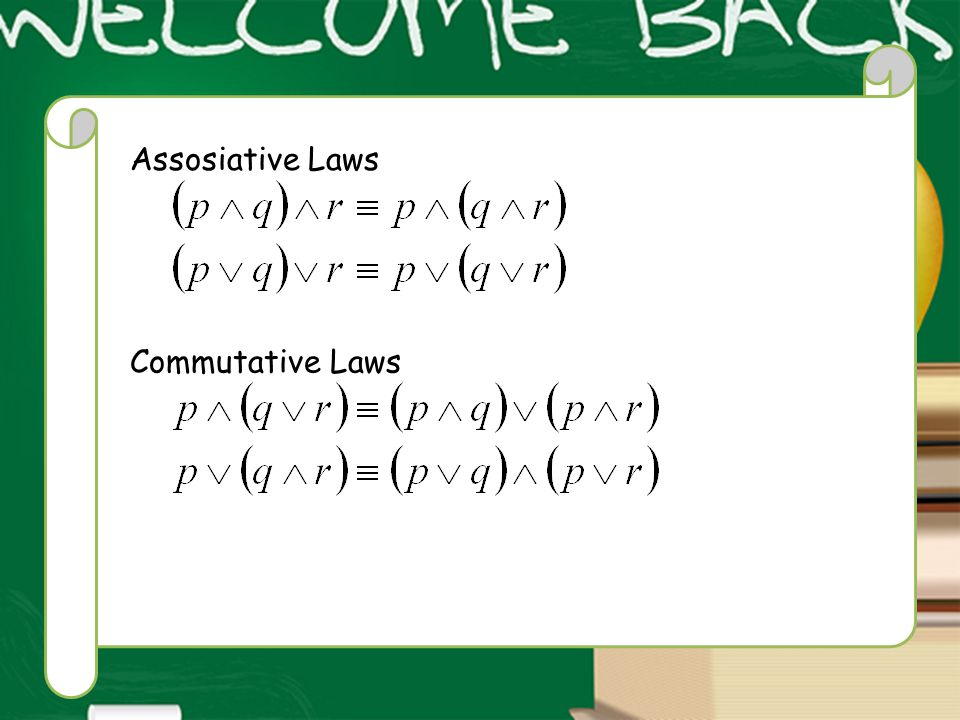 Assosiative Laws Commutative Laws