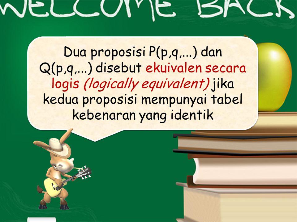 Dua proposisi P(p,q,. ) dan Q(p,q,