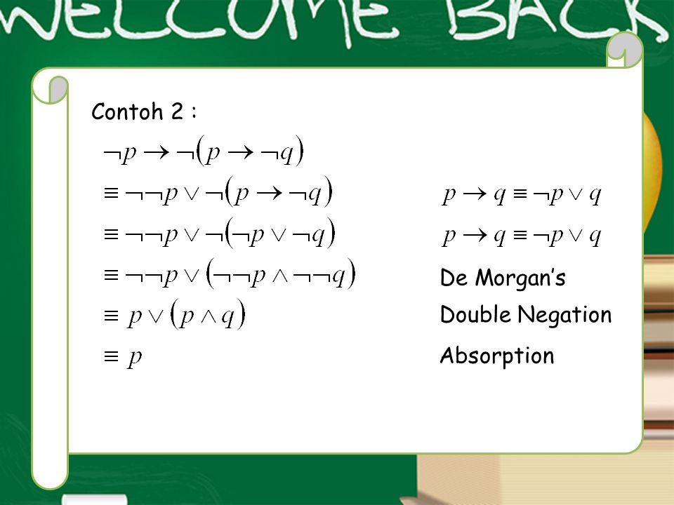 Contoh 2 : De Morgan's Double Negation Absorption