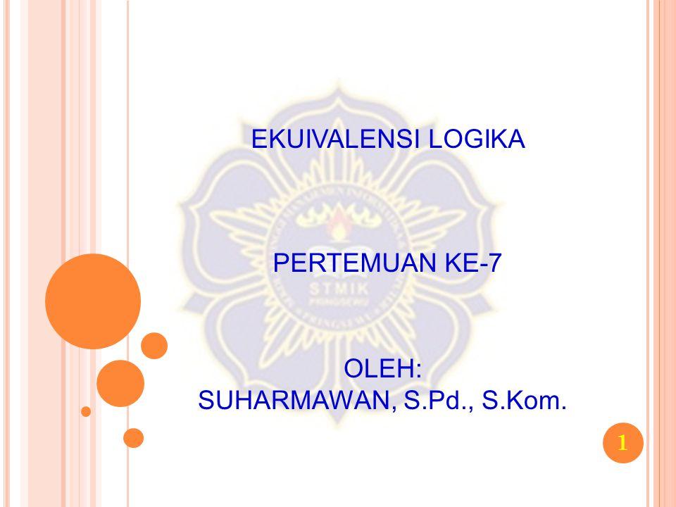 EKUIVALENSI LOGIKA PERTEMUAN KE-7 OLEH: SUHARMAWAN, S.Pd., S.Kom.