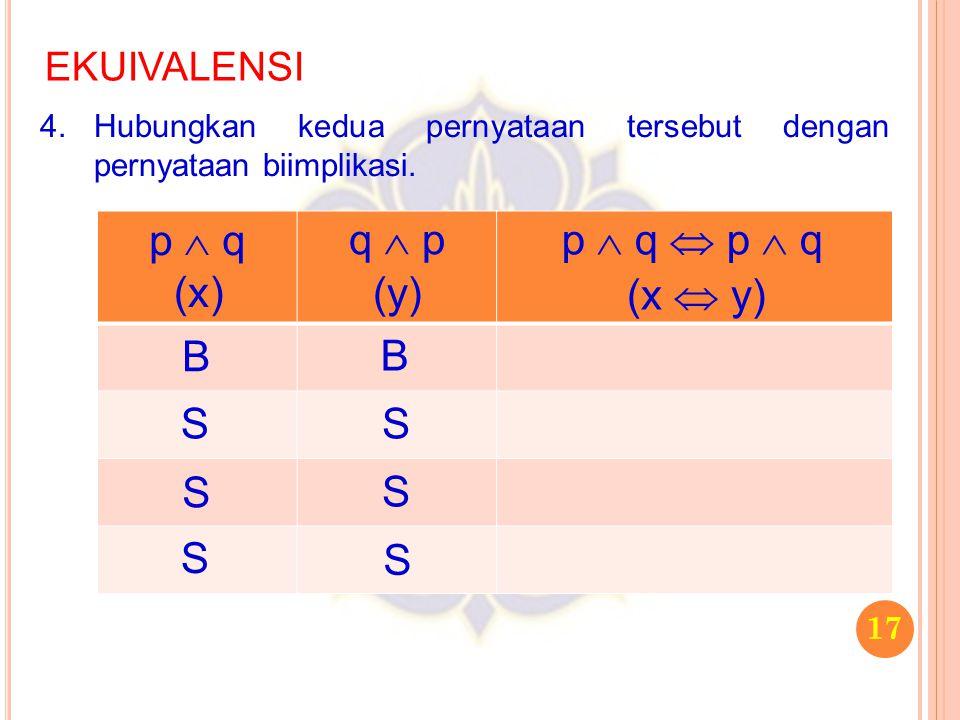 p  q q  p p  q  p  q (x) (y) (x  y) B B S S S S S S EKUIVALENSI