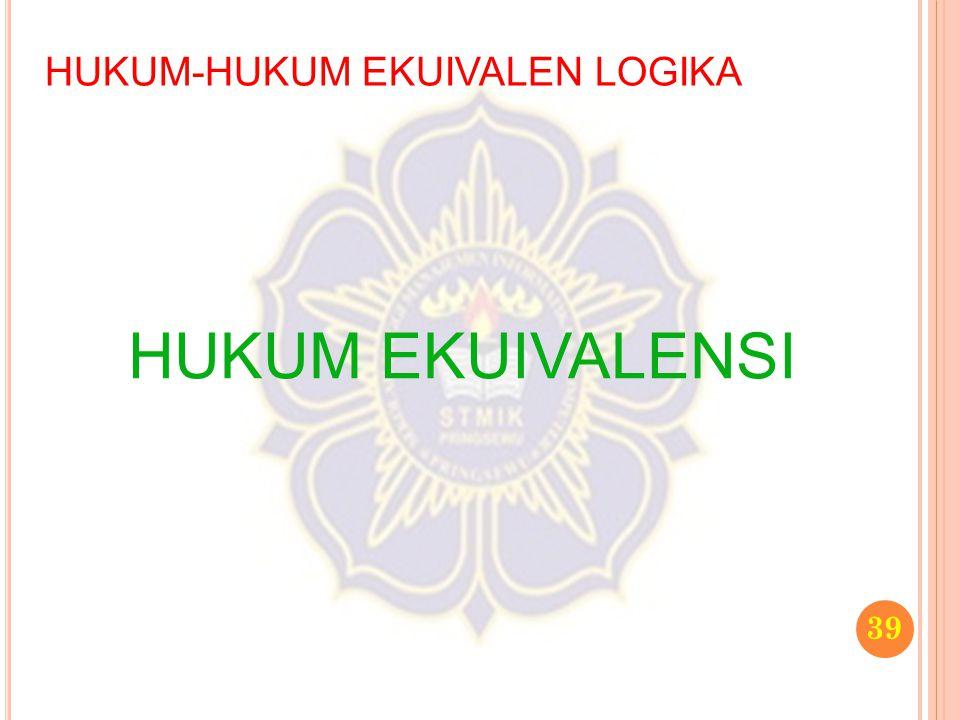 HUKUM-HUKUM EKUIVALEN LOGIKA