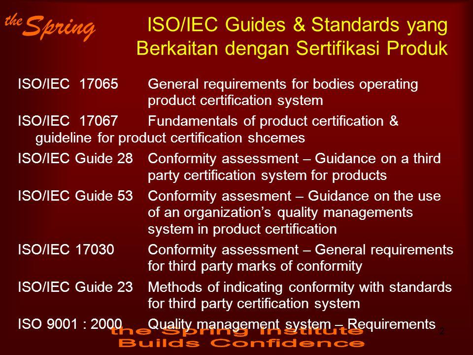 ISO/IEC Guides & Standards yang Berkaitan dengan Sertifikasi Produk