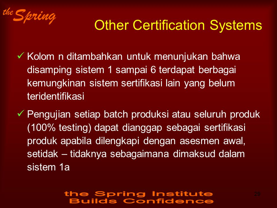 Other Certification Systems